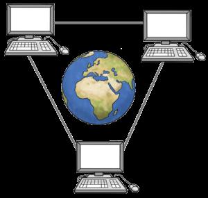 Grafik: In der Mitte des Bilds ist die Erde, darum herum drei Computer, die jeweils durch Linien verbunden sind